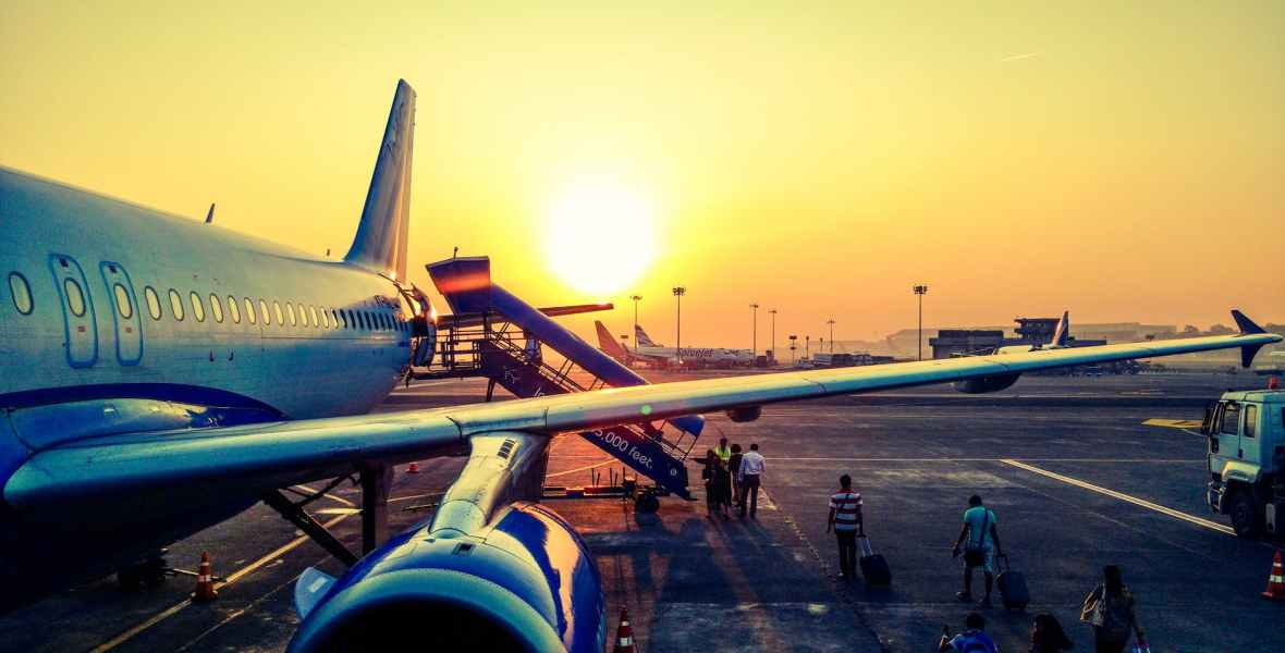 plane at sunrise